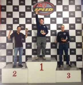 "The ""ridiculously fast"" group winners podium, K1 Speed Challenge, Nov. 2014"
