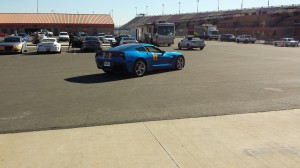 Gilbert Peet takes his Laguna Blue C7 out for a little spin on the 2.9-mile race course.