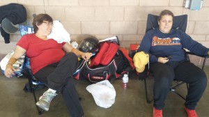 Lisa and her friend Kim doing what you spend a lot of time at the track doing - waiting for your group's next session.